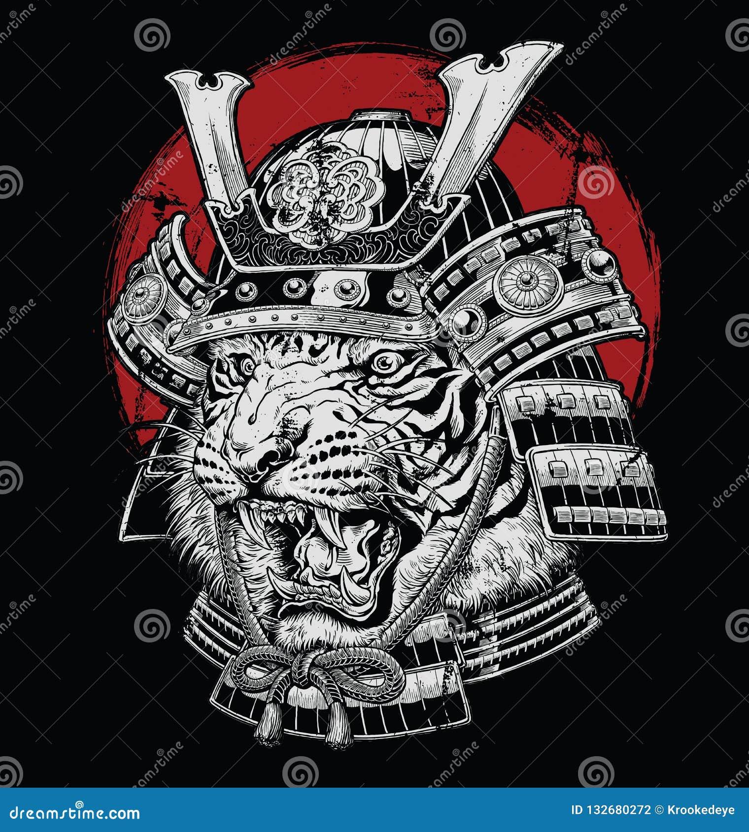 Illustration samouraï de vecteur de tigre japonais fortement détaillé tiré par la main sur la terre noire