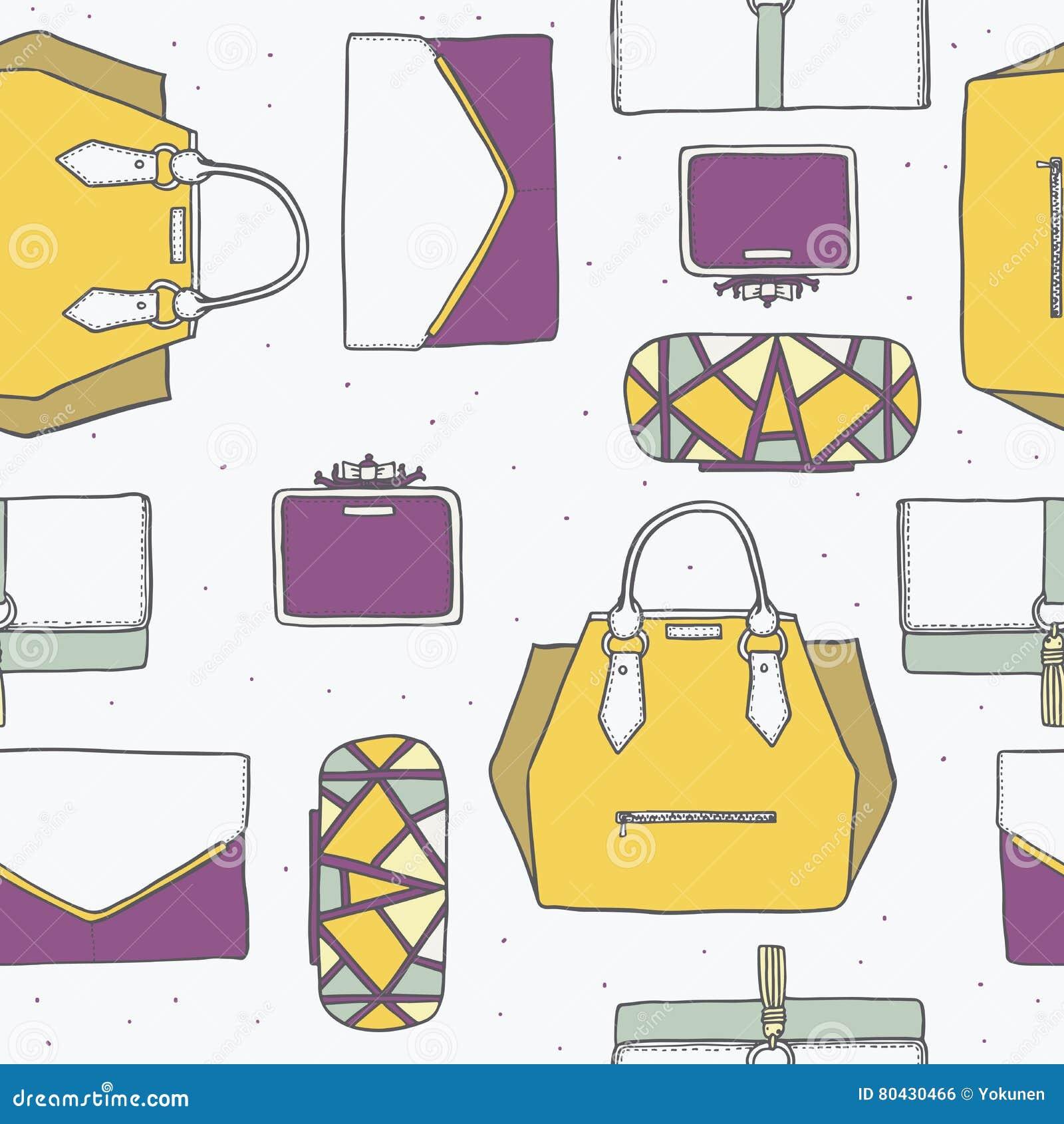 Illustration sans couture avec les sacs à main mignons et les embrayages jaunes, pourpres et gris dans le modèle élégant de mode