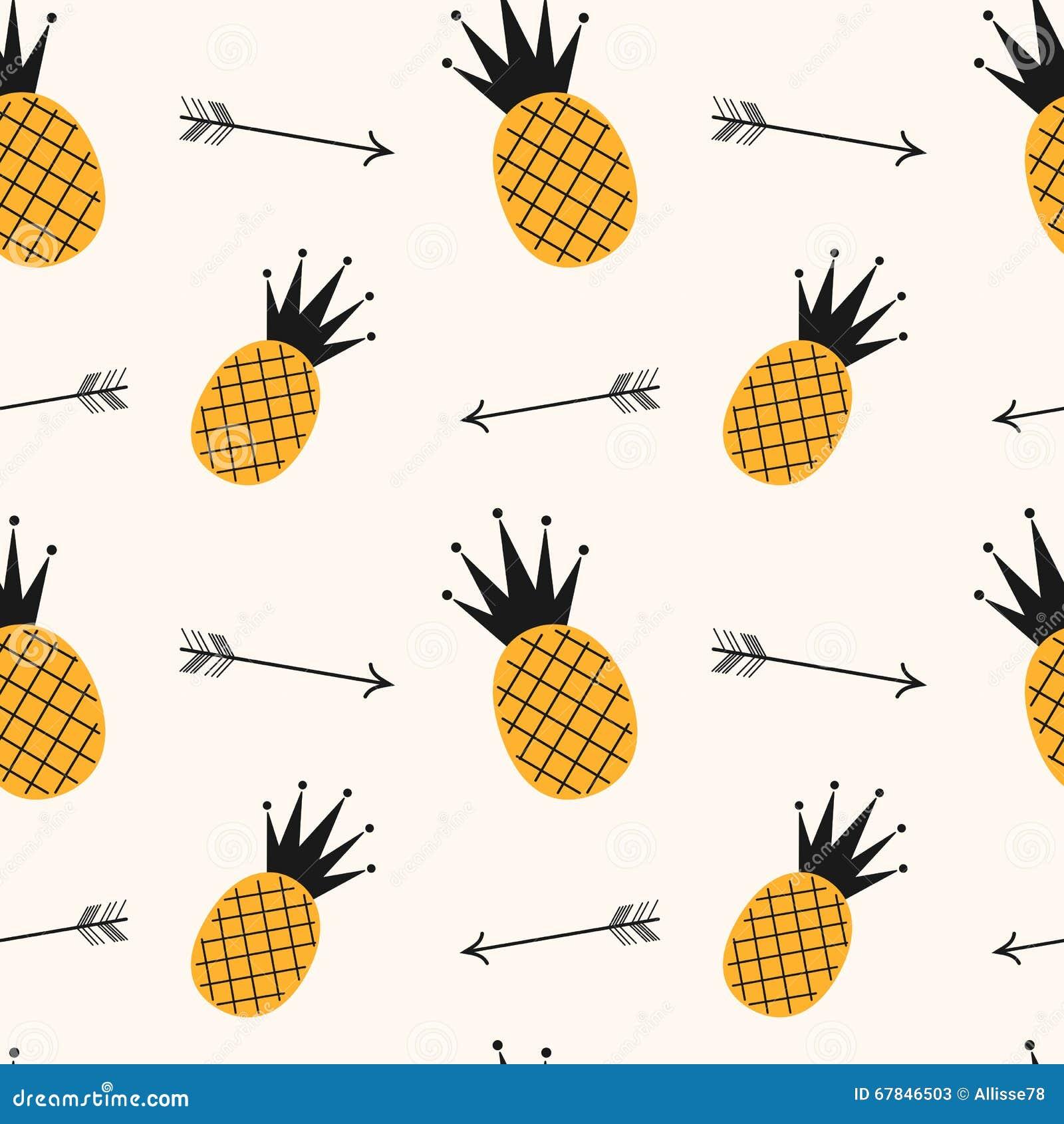 Illustration sans couture de fond de mod le d 39 ananas noir for Fond ecran ananas
