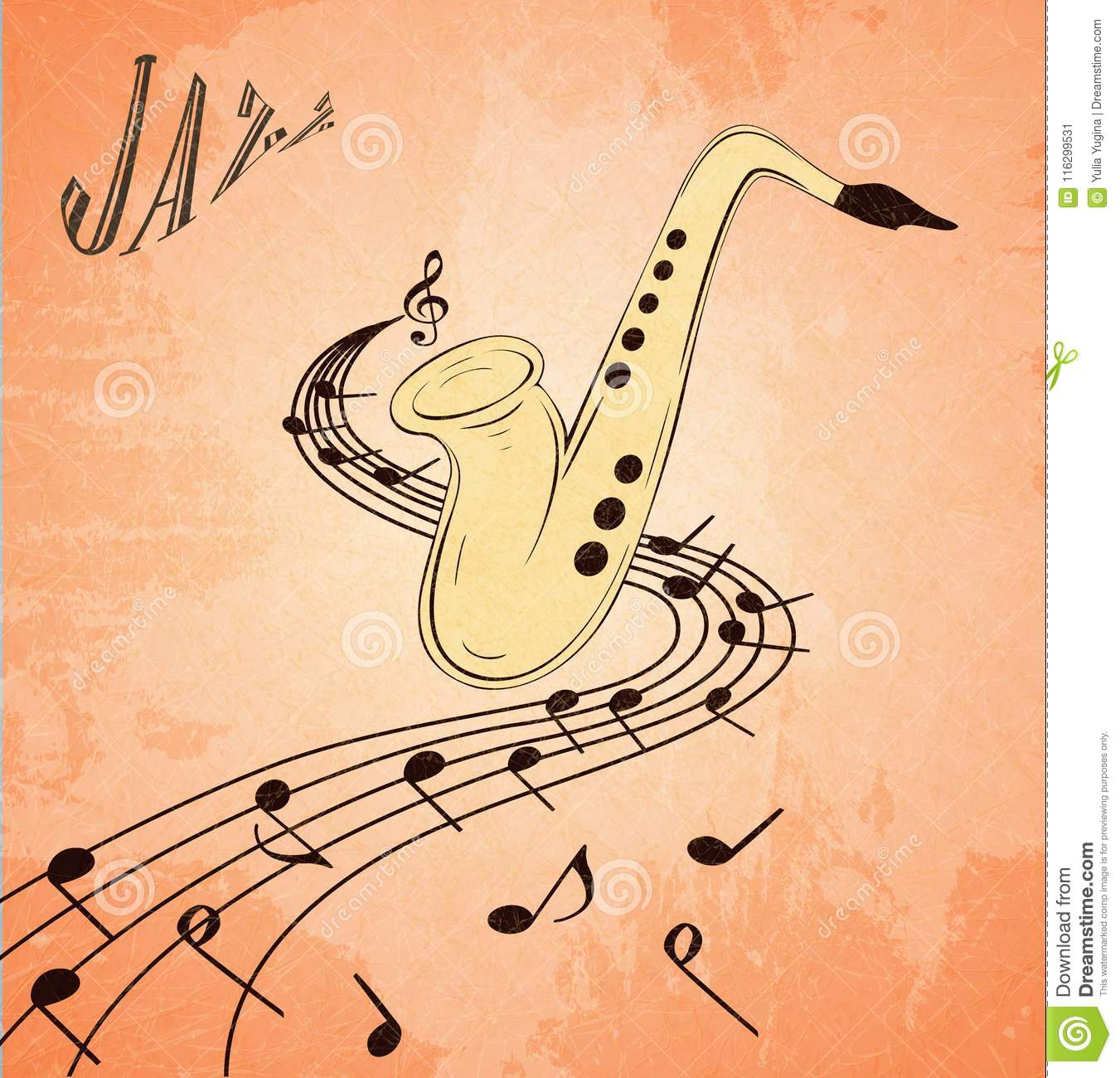 Illustration Of Saxophone And Musical Notes On Stave, Grunge ...