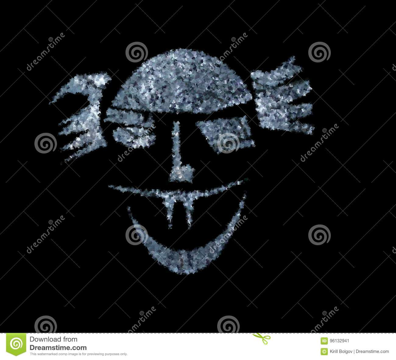 Illustration Of A Scary Bald Face On A Black Background