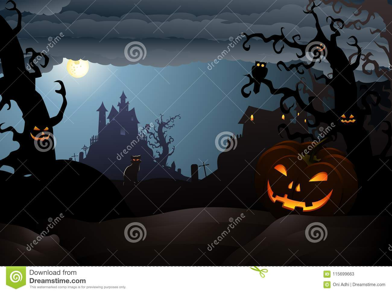 download scary halloween of a haunted house stock vector illustration of happy silhouette