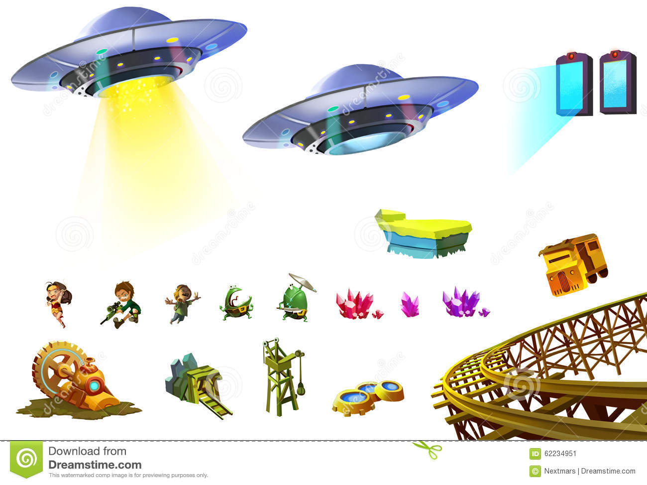 illustration  science fiction elements set 5  stock illustration