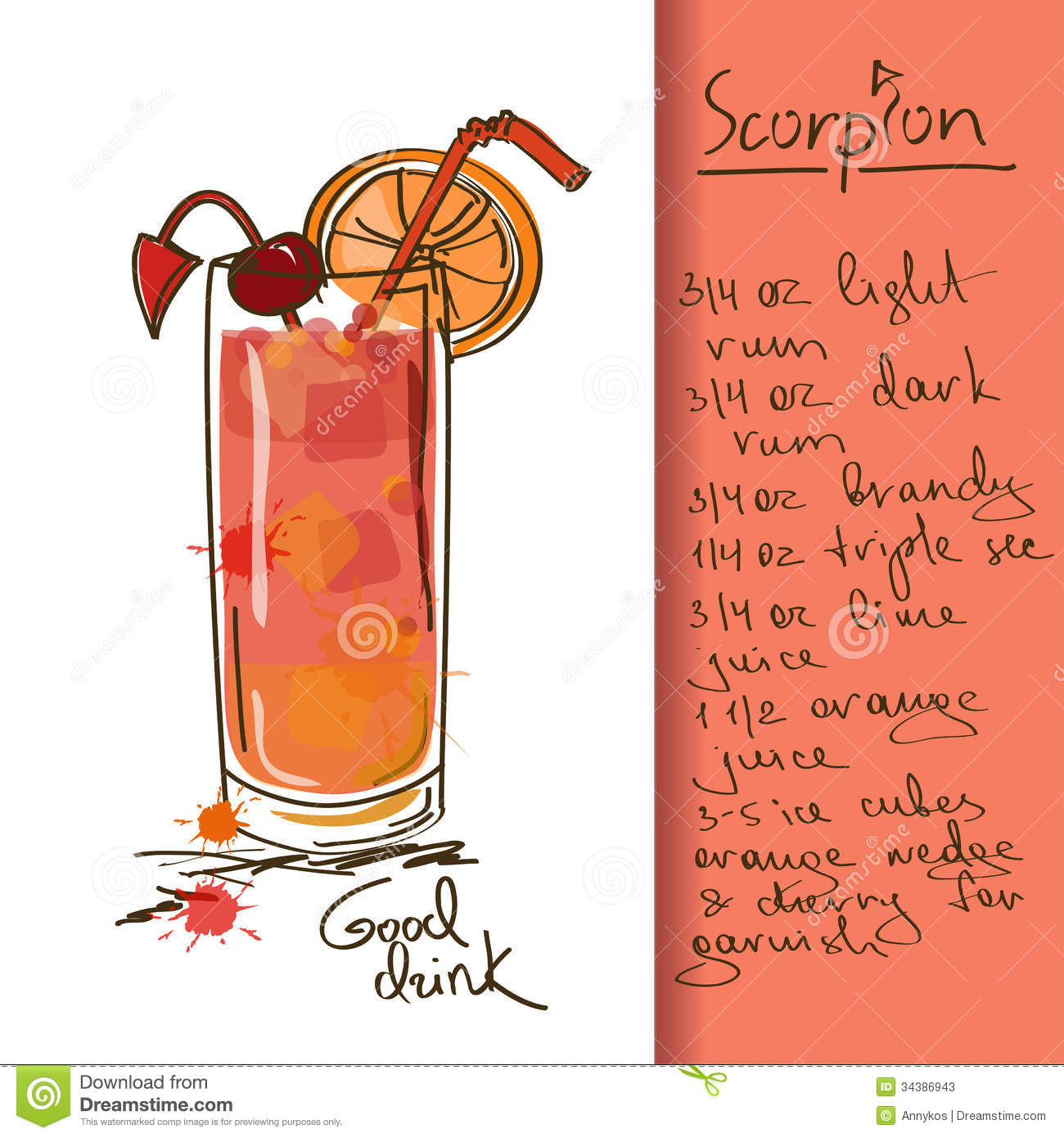 Illustration with scorpion cocktail stock vector image for Cocktail recipes with ingredients on hand