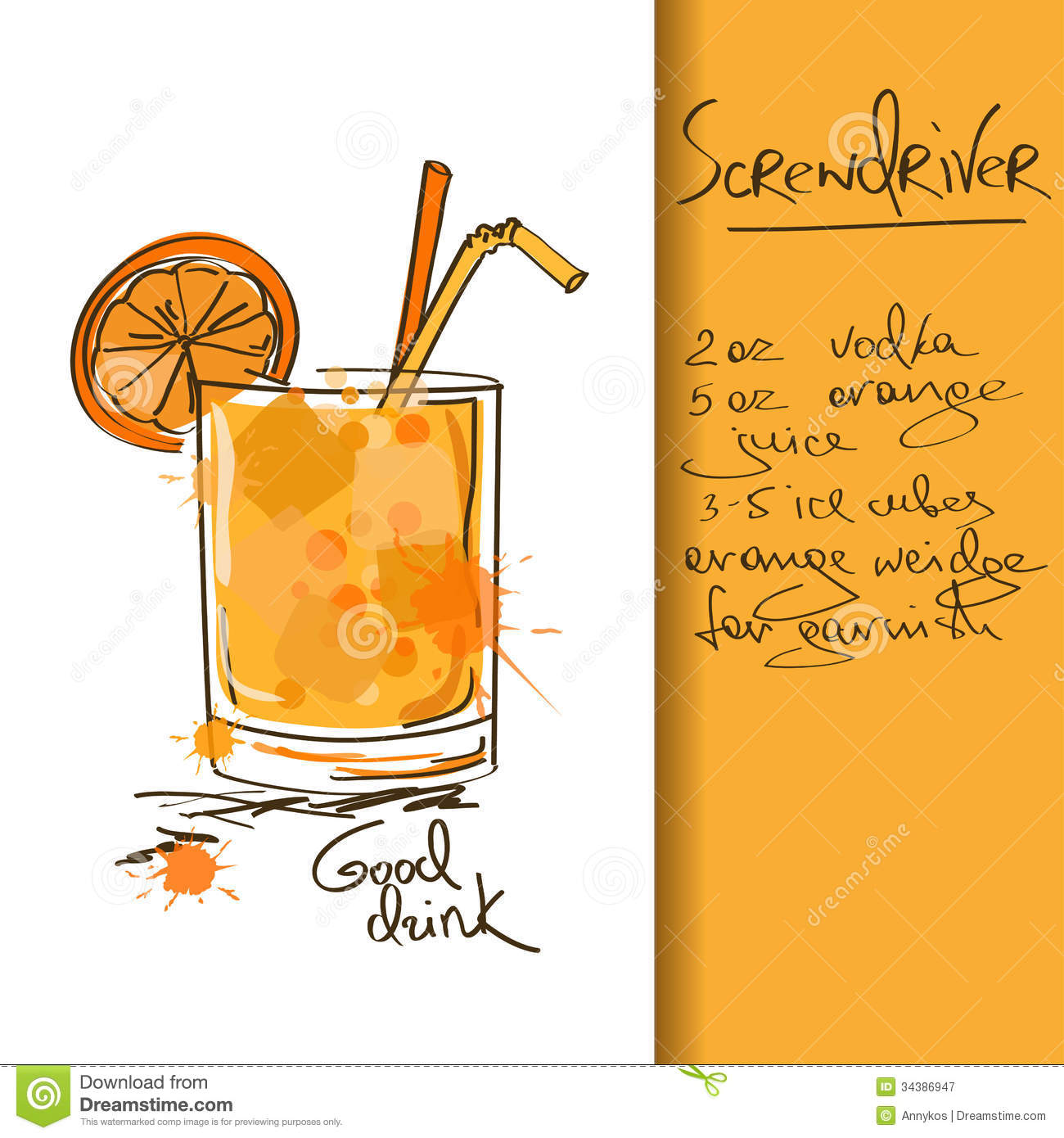 圖片標題: … with hand drawn Screwdriver cocktail