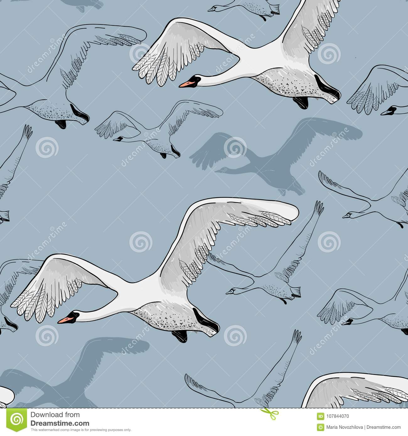 Illustration Of Seamless Pattern Of Drawing White Flying Swans Hand