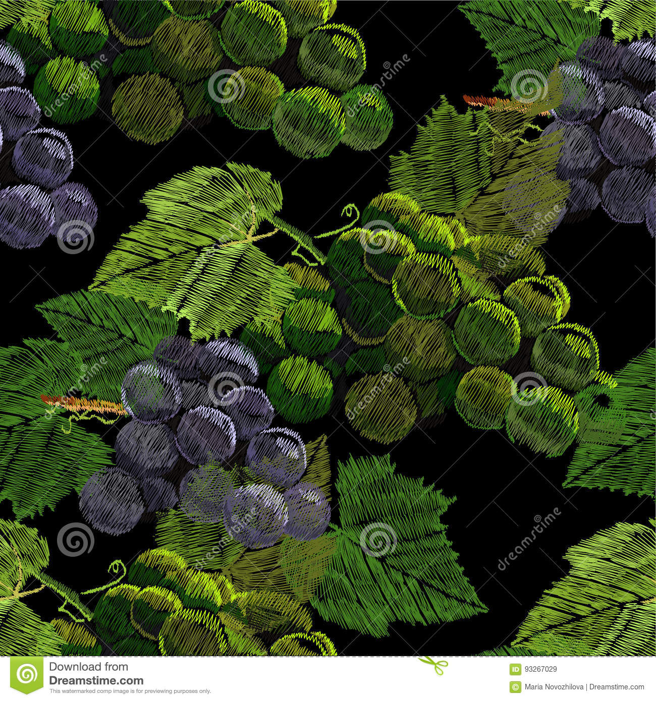 Illustration of Seamless pattern embroidery, needlework with a bunch, cluster of grapes with a green leaf. Necklace of