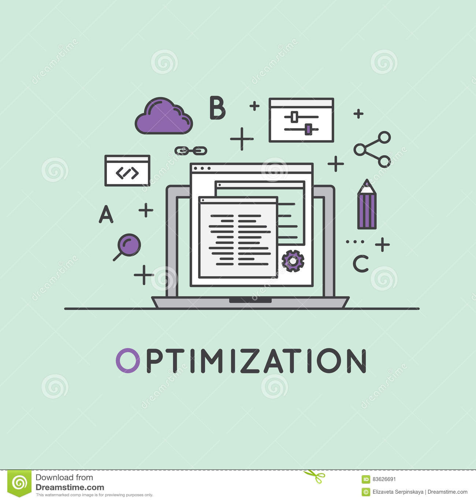 Illustration of SEO Search Engine Optimization Process