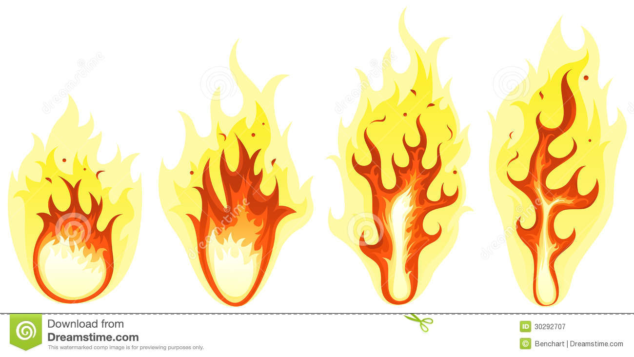 Cartoon Fire And Burning Flames Set Royalty Free Stock Photography ...