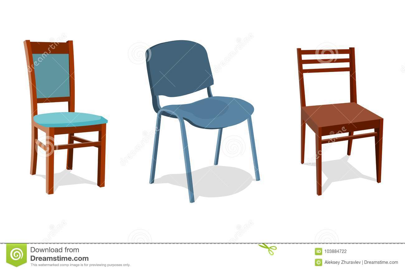 Illustration Set Of Different Chairs For Home And Office. Object ...