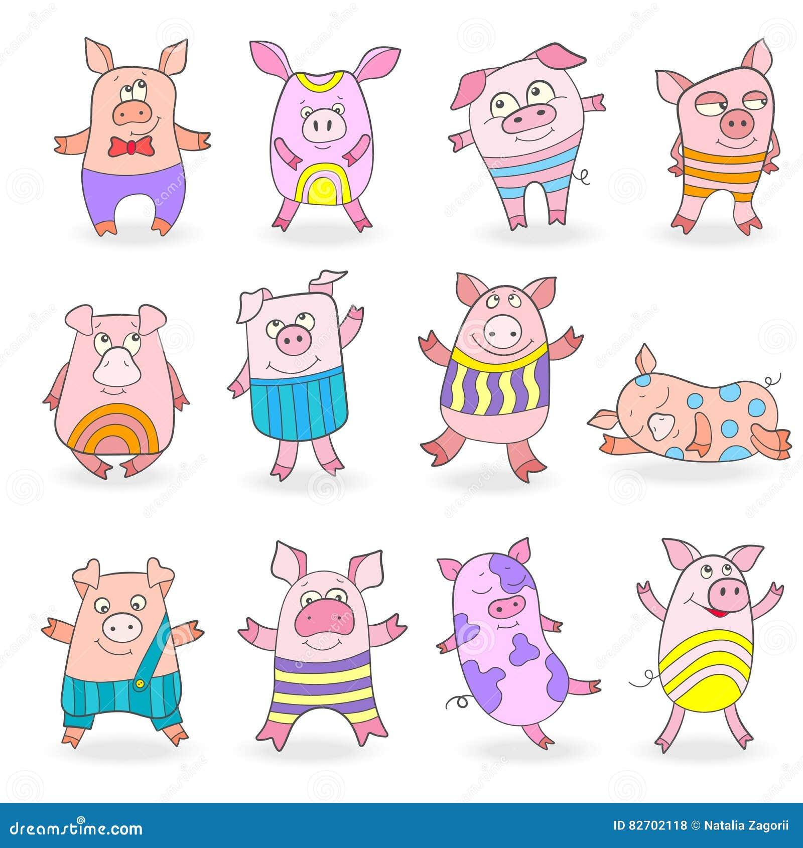 Set of funny 9 pigs icons cartoon vector cartoondealer for Garderoben set funny