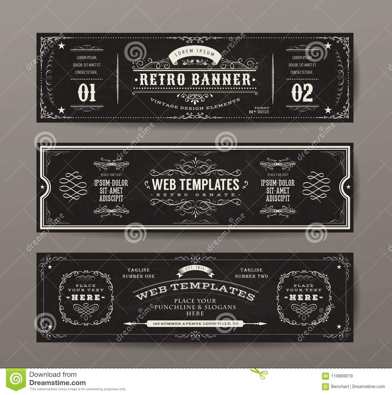vintage web banners templates set stock vector illustration of