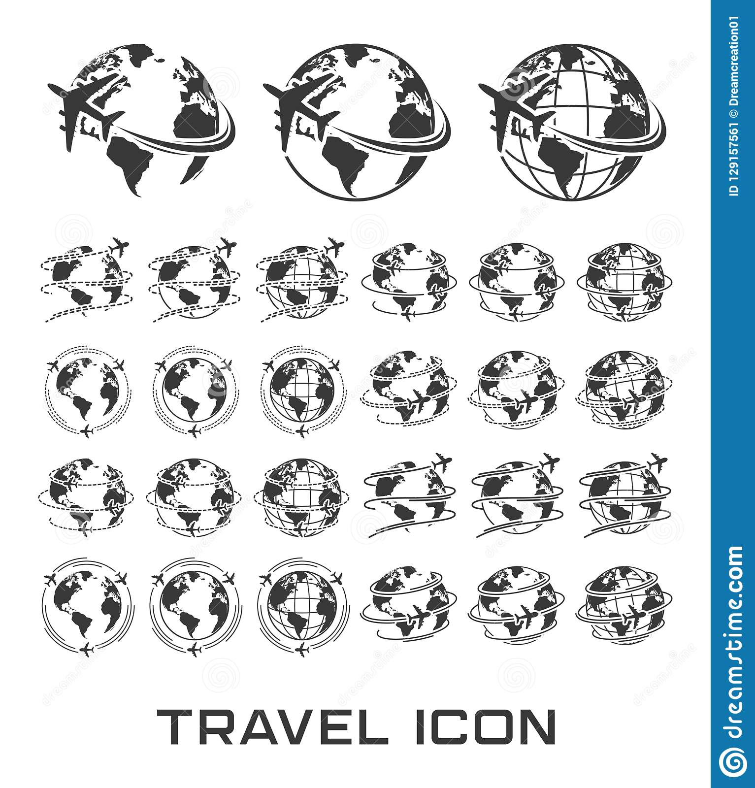 Set of Travel icons with airplane fly around the earth