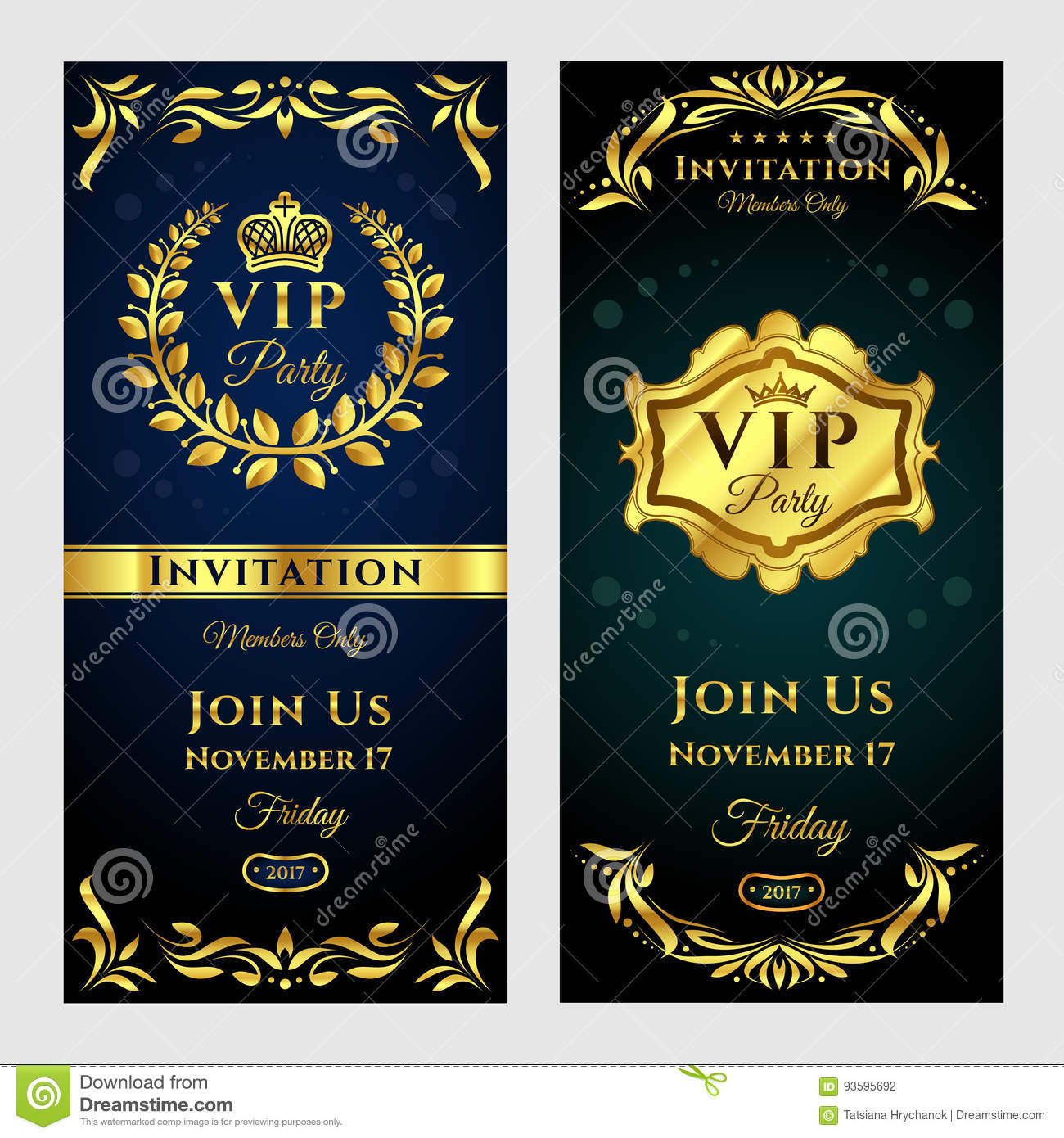 Illustration Set Of Vintage Vip Party Invitation Cards Stock