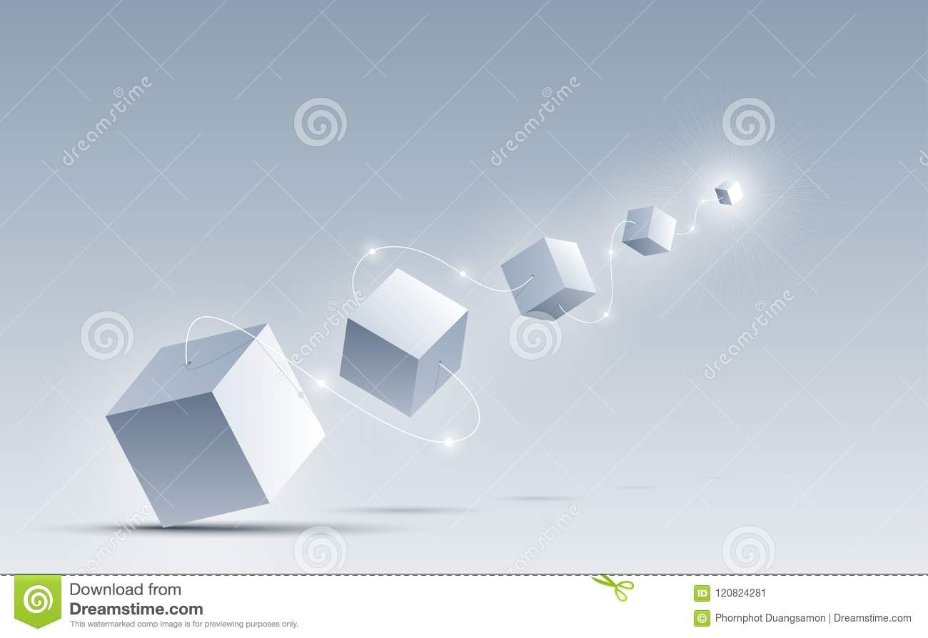 The 3d Cubes Connect From Size Big To Small By A White Line Science