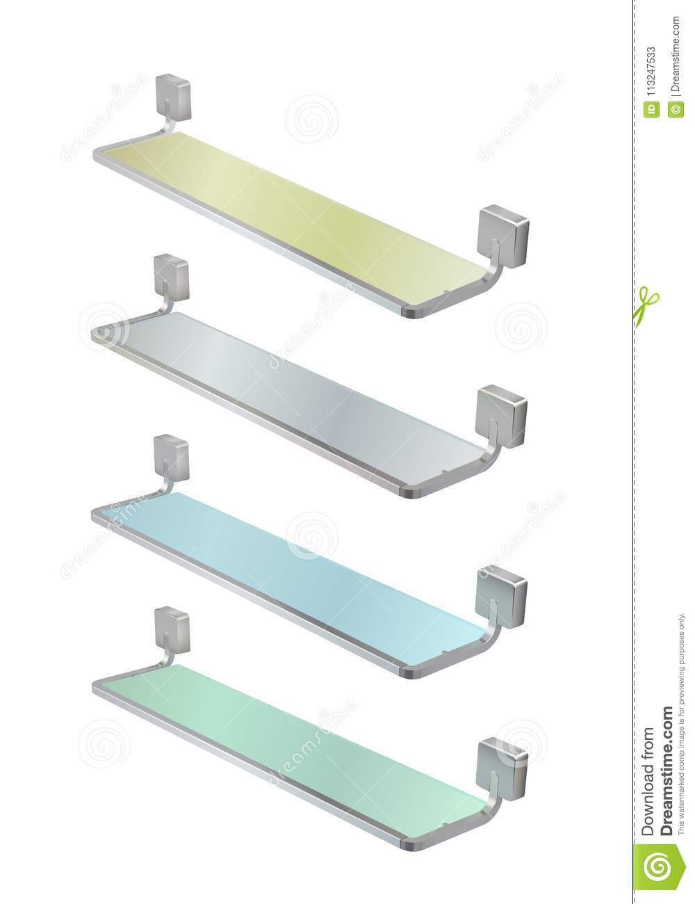Illustration Of A Glass Shelves With A Metal Frame. Metal Fastening ...