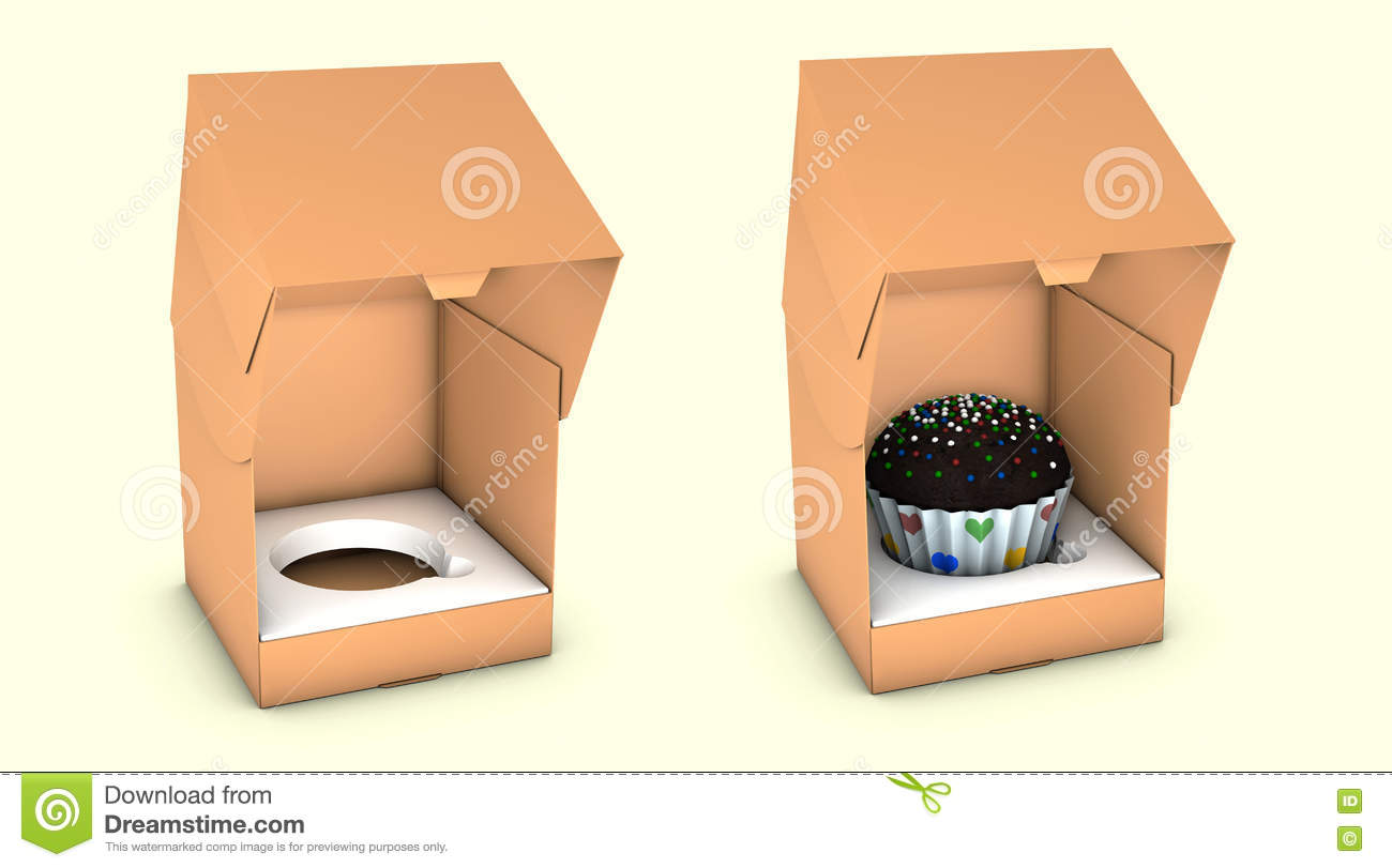 Illustration of Short Square Cardboard Cake Carry Box Packaging. On White Background Isolated.