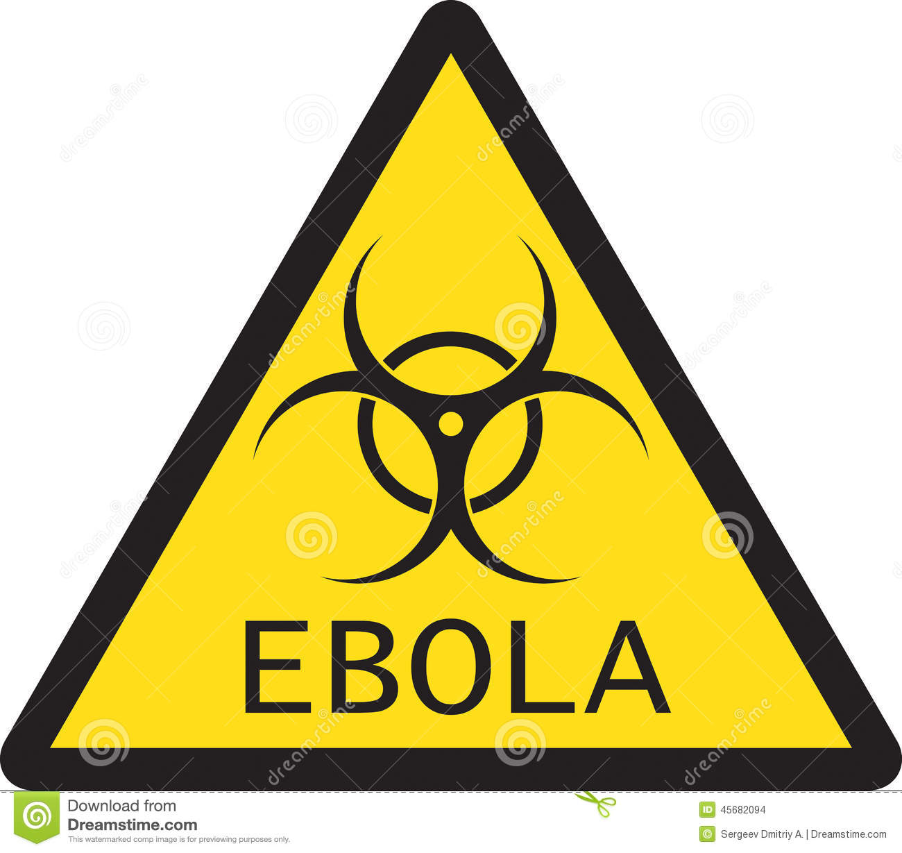 illustration of sign of ebola biological hazard stock vector