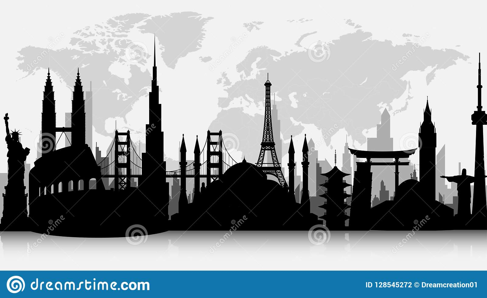 Silhouettes of famous world landmarks