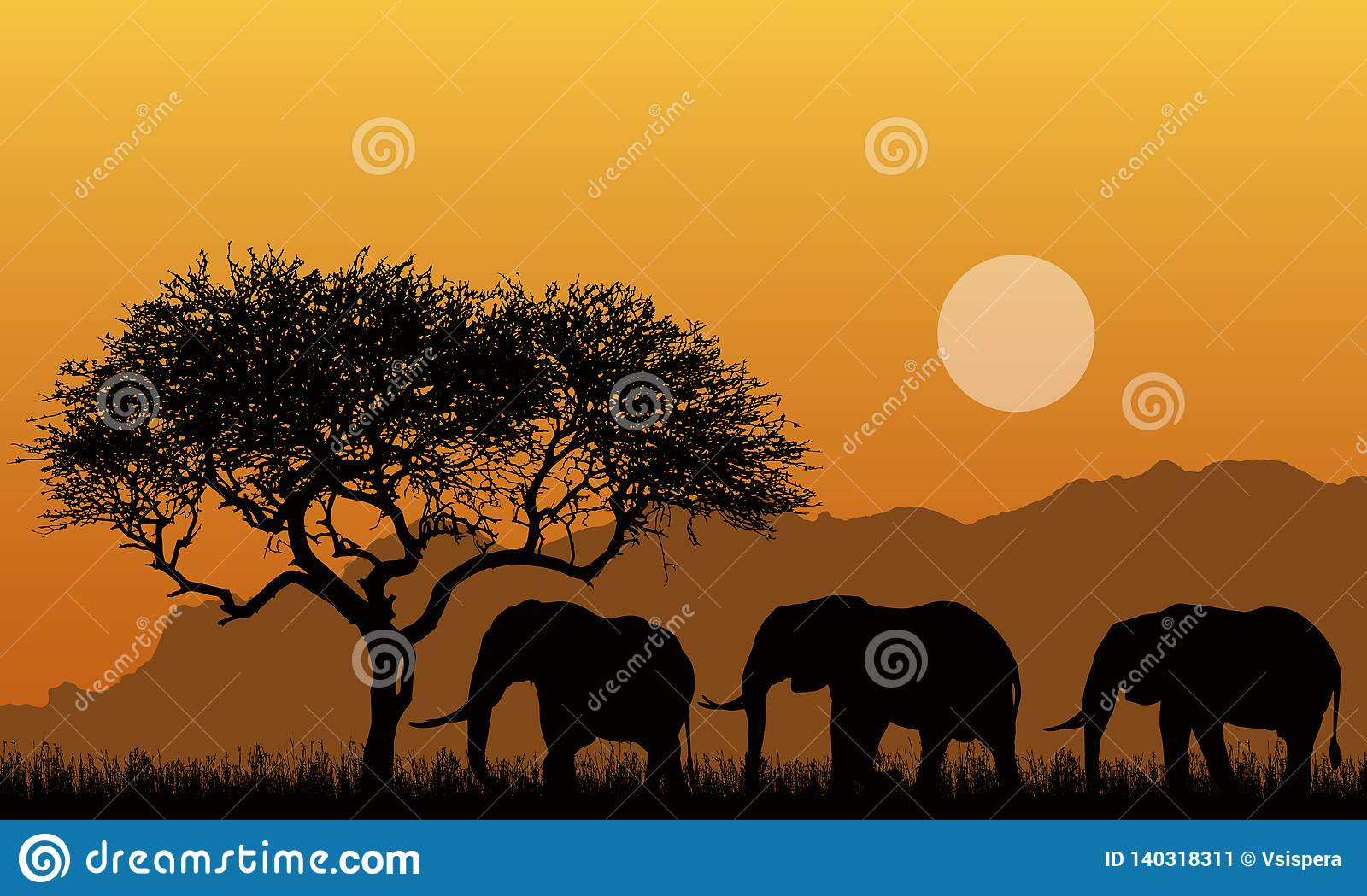Illustration of silhouettes of mountain landscape of african safari with tree, grass and three elephants. Below the orange sky