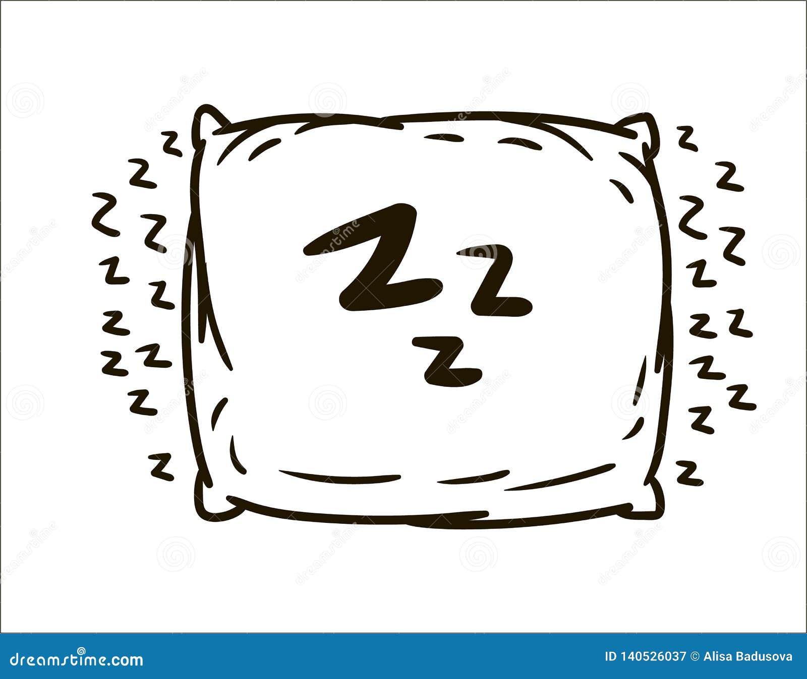 Illustration simple de croquis d oreiller tiré par la main de vecteur sur le fond blanc