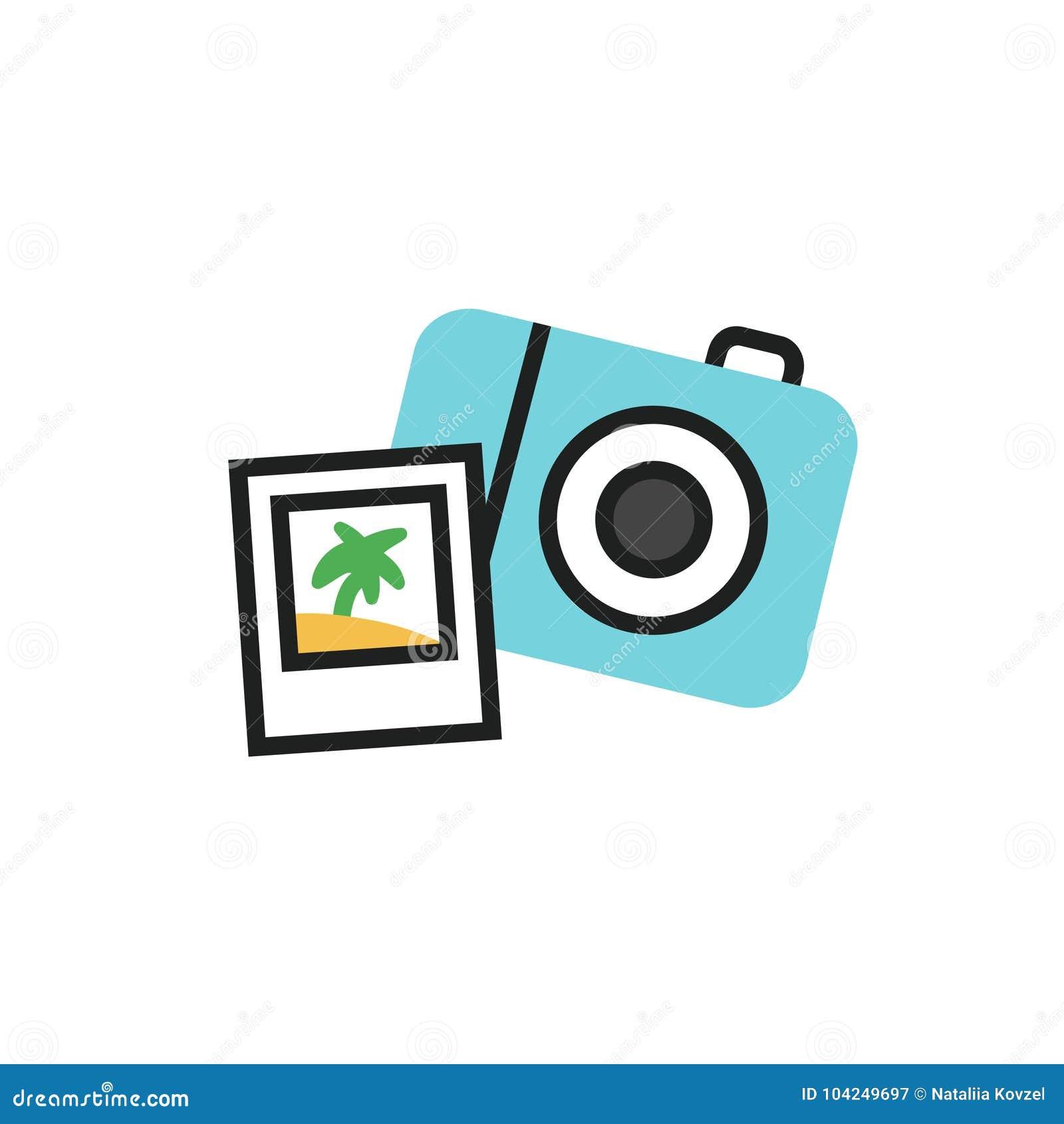 Illustration simple de vecteur de l appareil-photo de photo - icône de voyage dans le style linéaire plat
