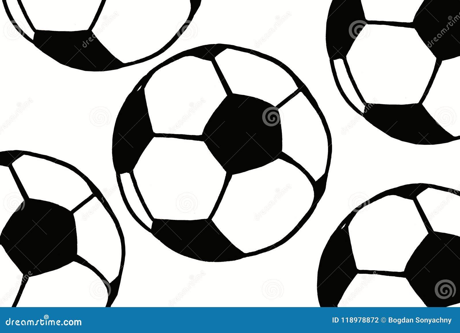 Illustration Simple Tirée Par La Main De Ballon De Football Modèle