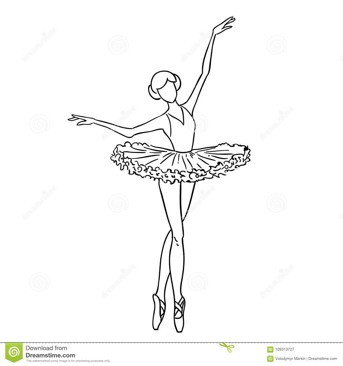 Illustration Of A Sketch Contour Drawing Of A Girl Ballerina Dancer Black And White Sketch Cartoon Doodle Stock Illustration Illustration Of Ballerina White 109313727