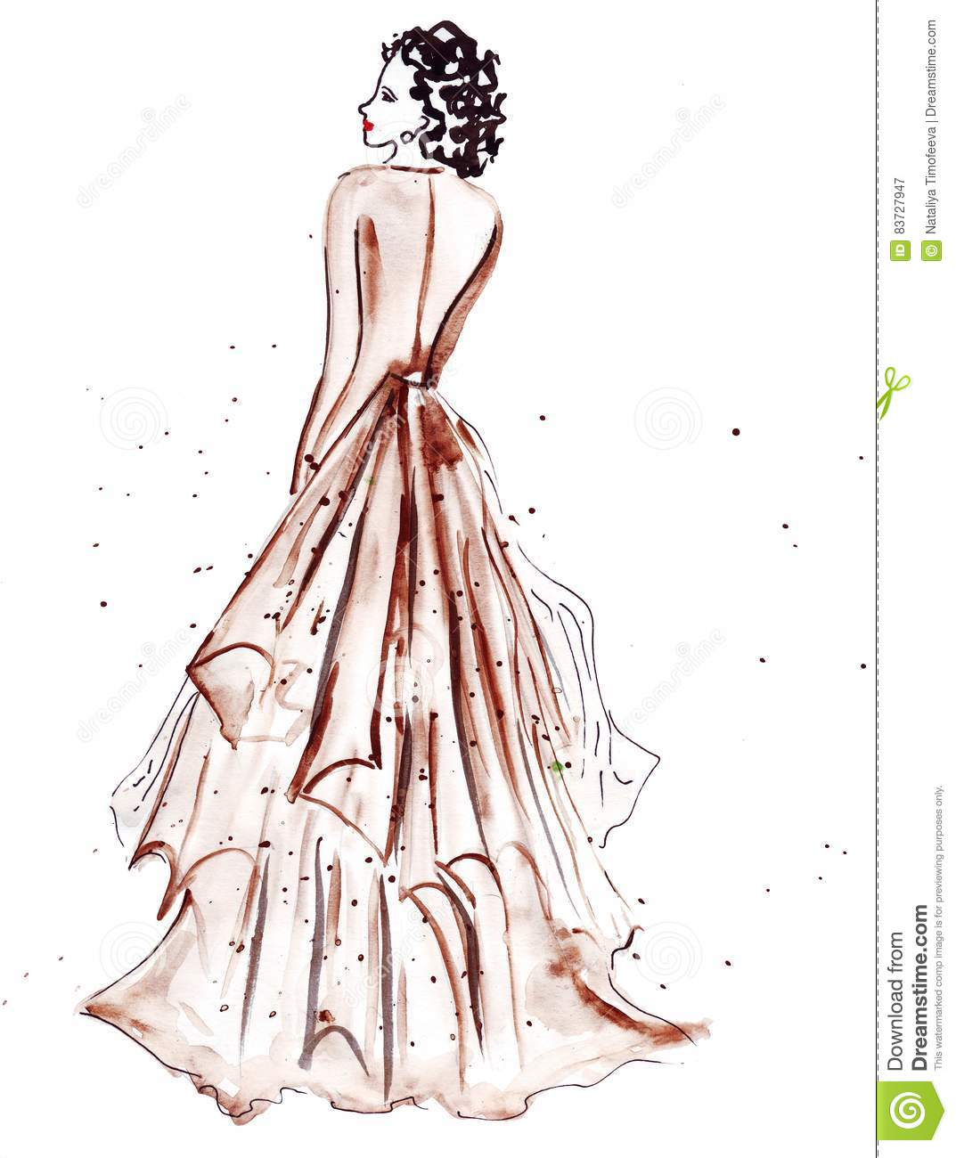 Illustration Sketch Of Female Fashion In Different Clothes Painted With Bright Acrylic Paints And Ink Black Stock Illustration Illustration Of Decorative Illustration 83727947