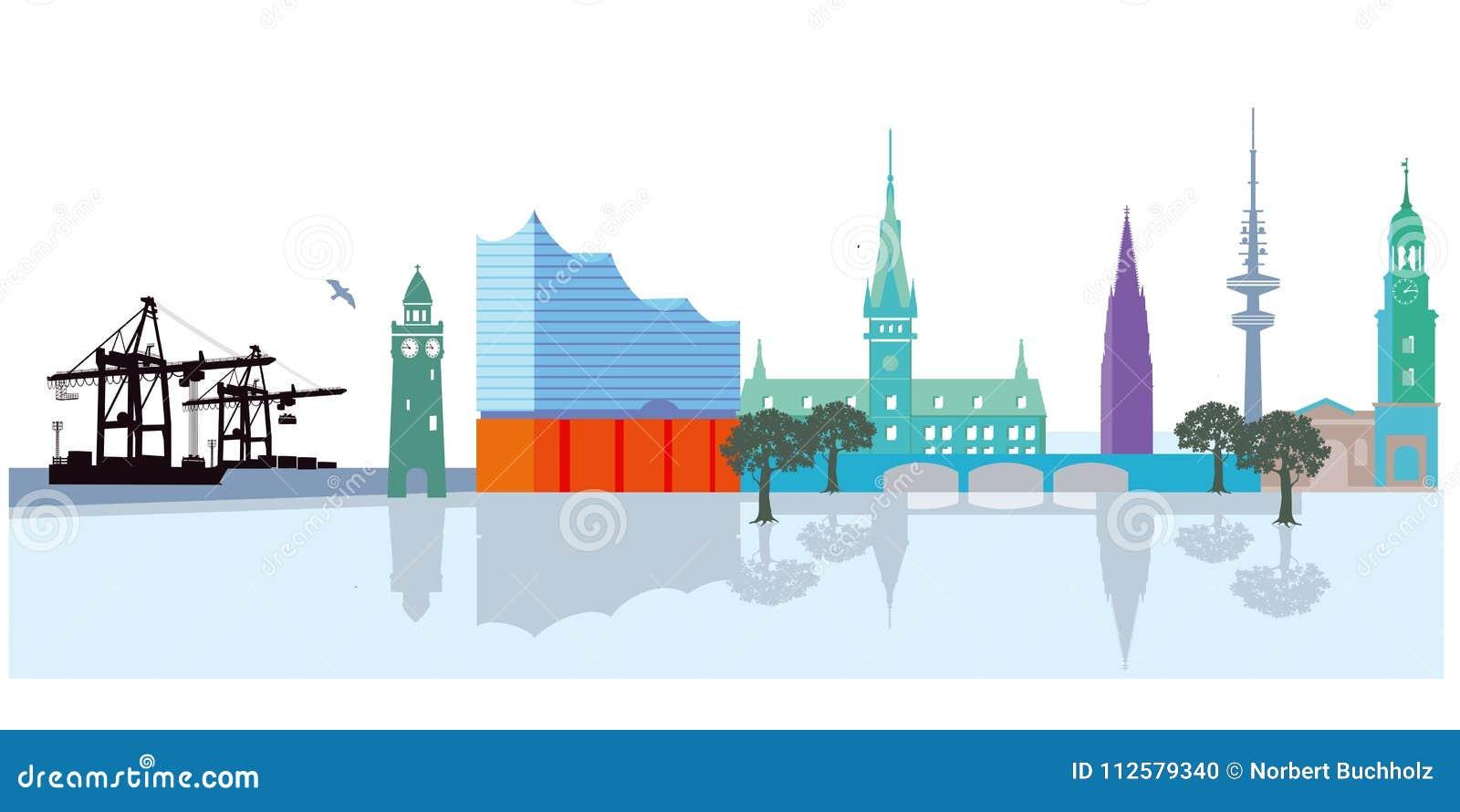 Hamburg Skyline Stock Vector  Illustration Of