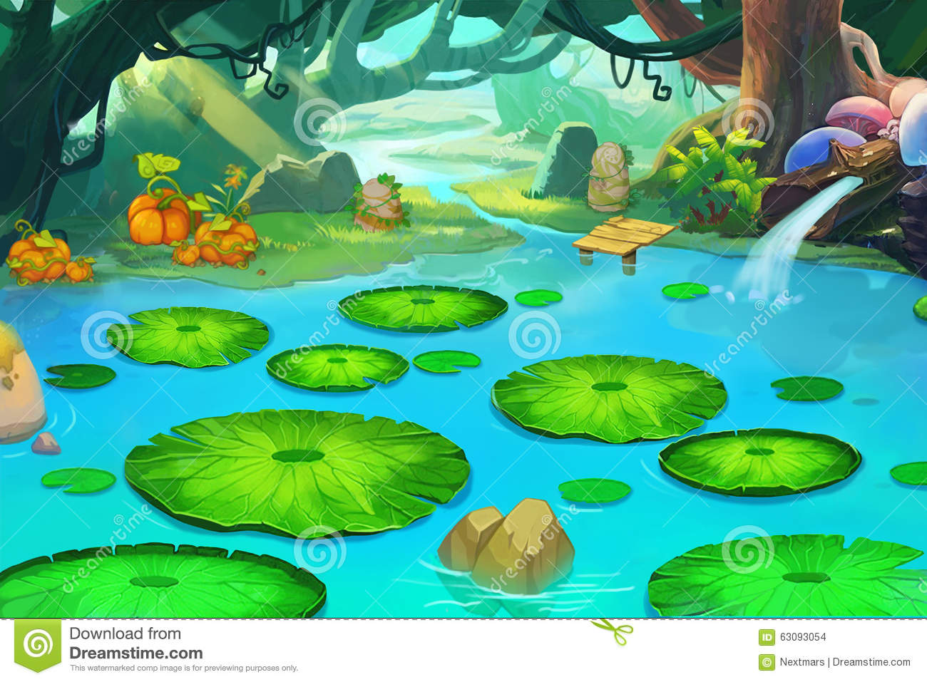 Illustration The Sleeping Pond In The Forgotten Forest