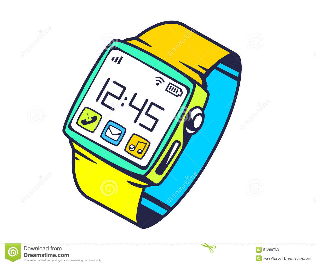 Scribble Drawing Website : Illustration of smart watch with button on white backgrou