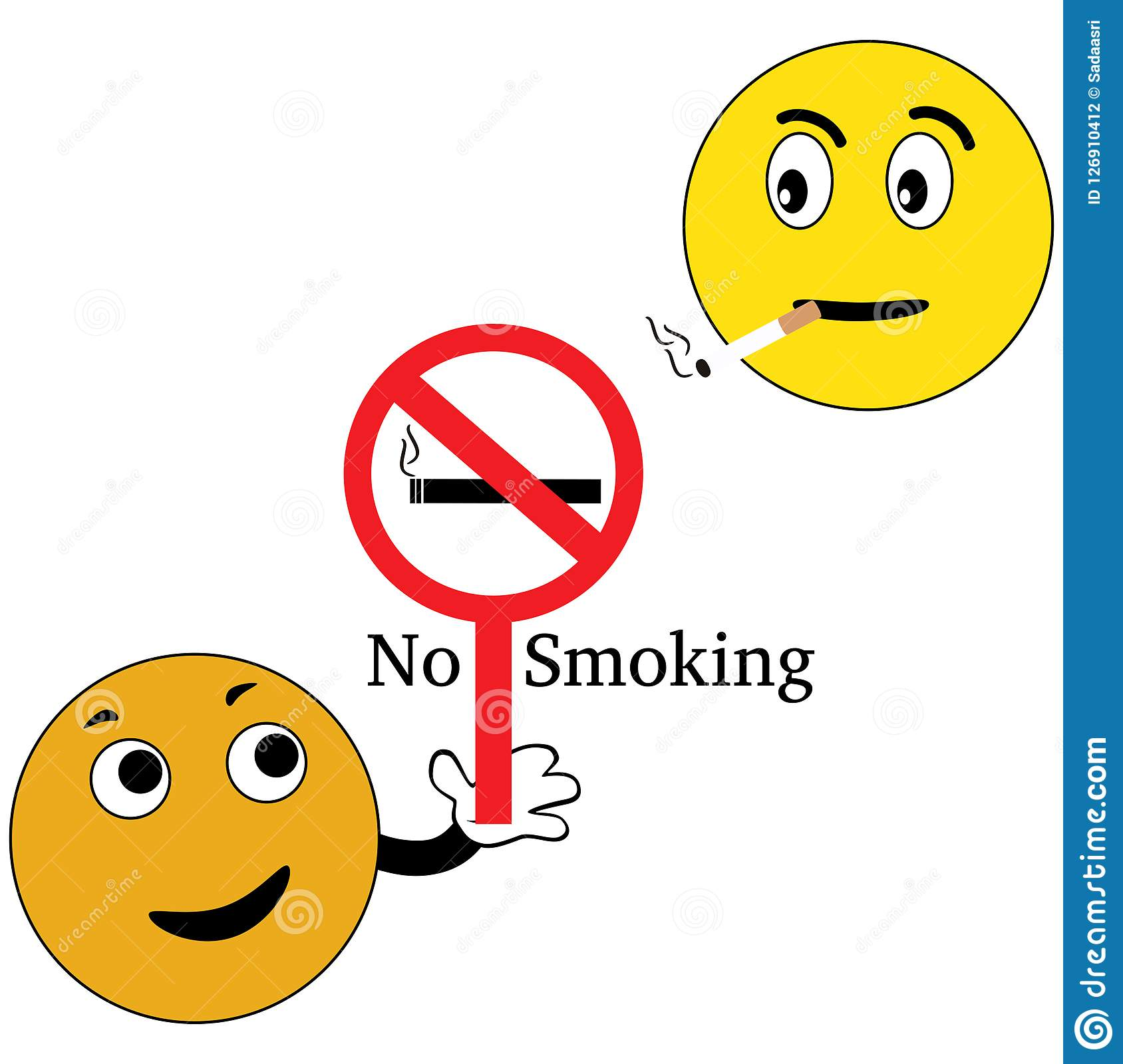 Smiley with no smoking sign