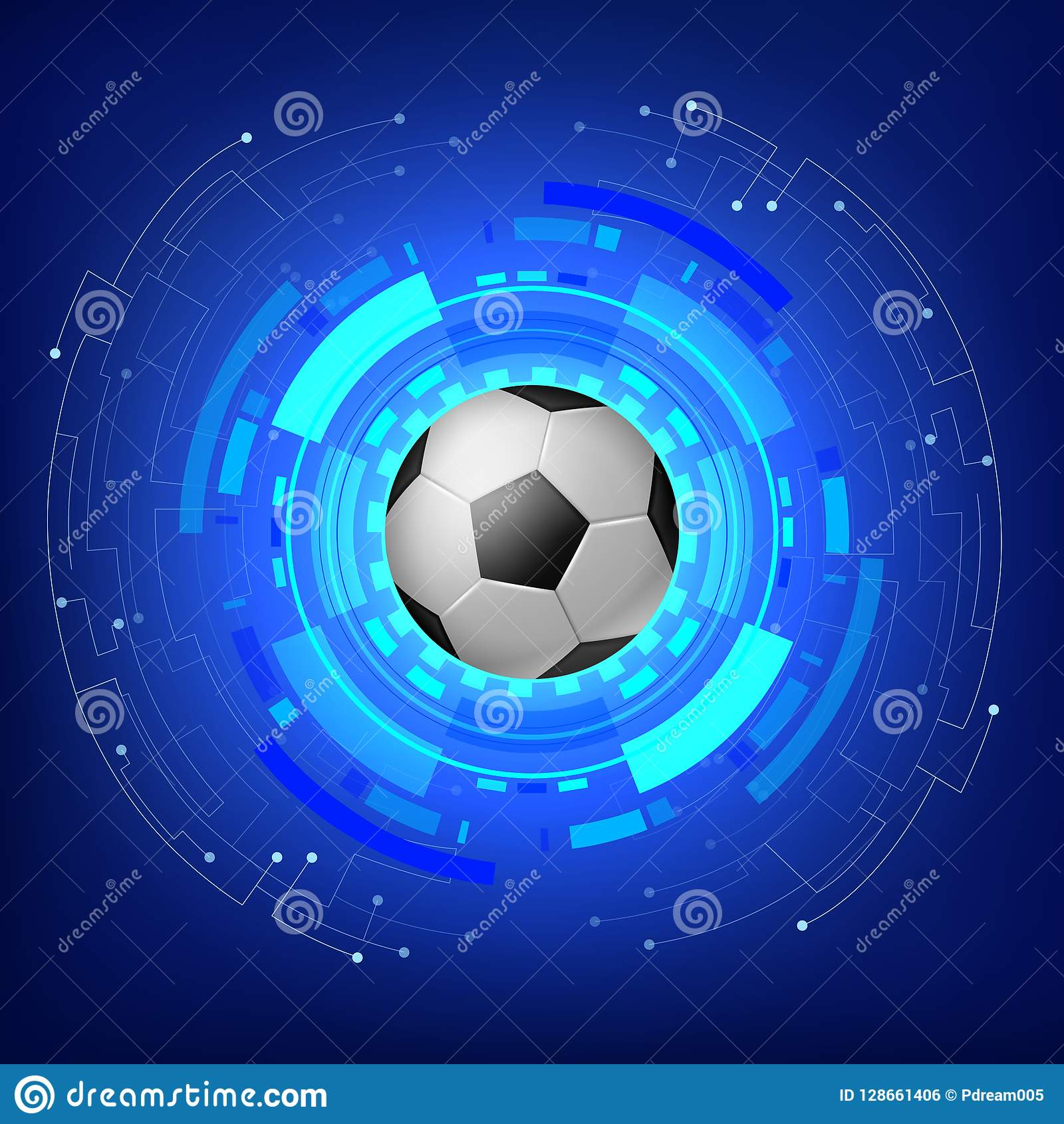 Soccer ball with Technology modern background .