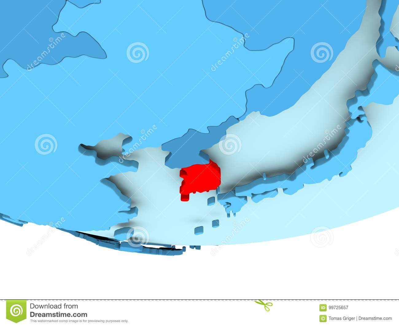 South korea in red on blue map stock illustration illustration of download south korea in red on blue map stock illustration illustration of blue international gumiabroncs Choice Image
