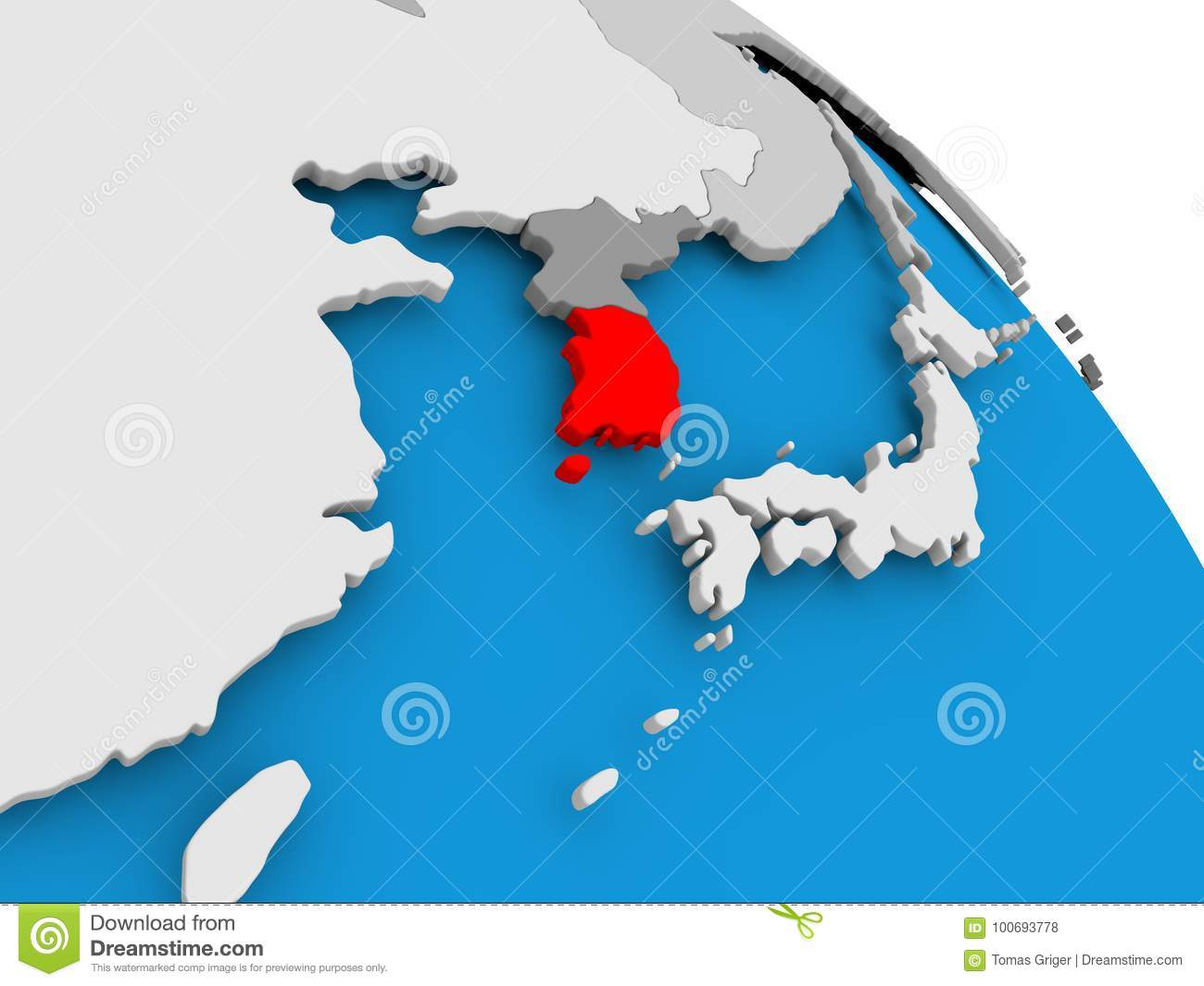 South korea in red on map stock illustration illustration of world illustration of south korea highlighted in red on globe 3d illustration gumiabroncs Choice Image