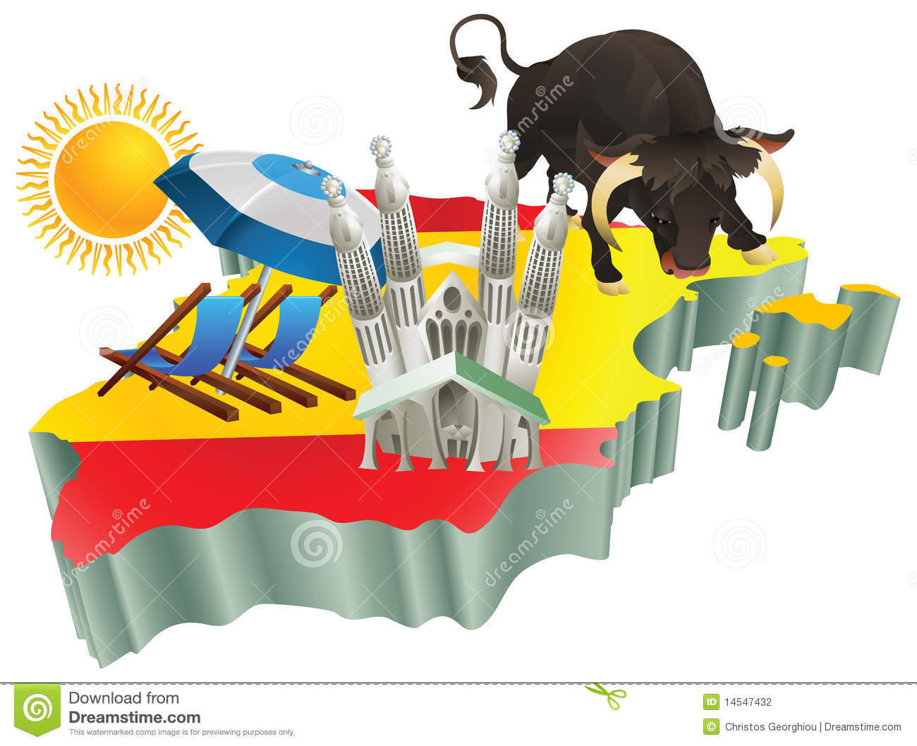 Illustration Spanish Tourist Attractions In Spain – Spain Tourist Attractions Map