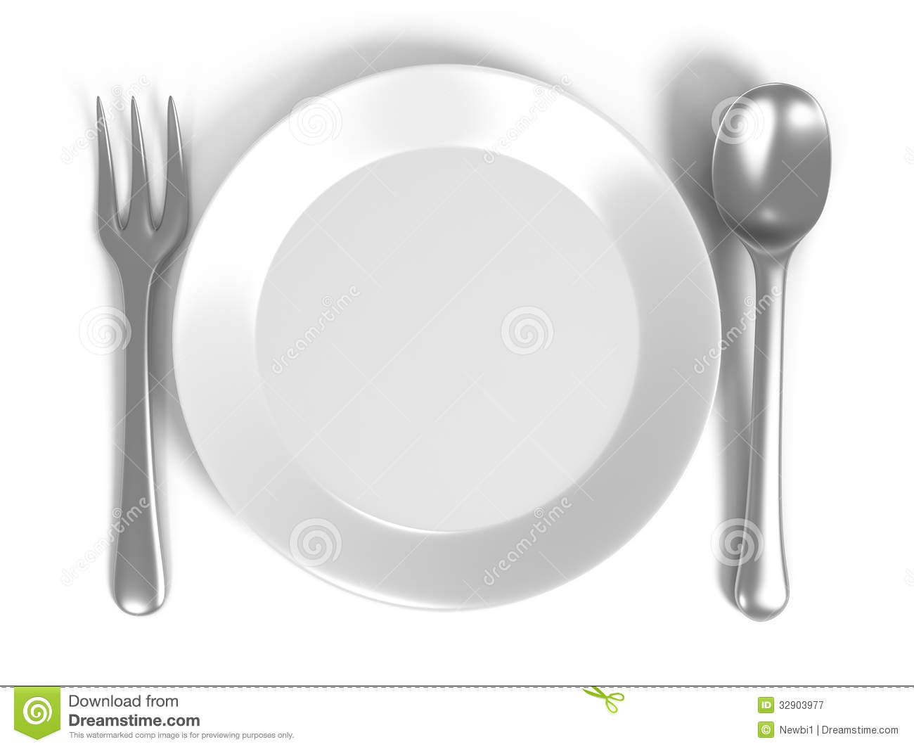 Illustration Of Spoon And Fork On Plate Stock Illustration