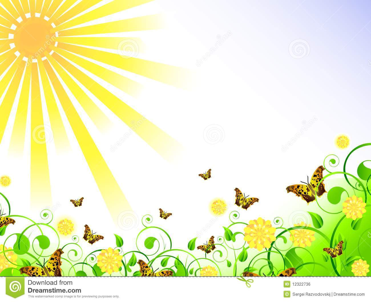 Illustration of spring theme with swirls, butterfly, foliage, sun and ...