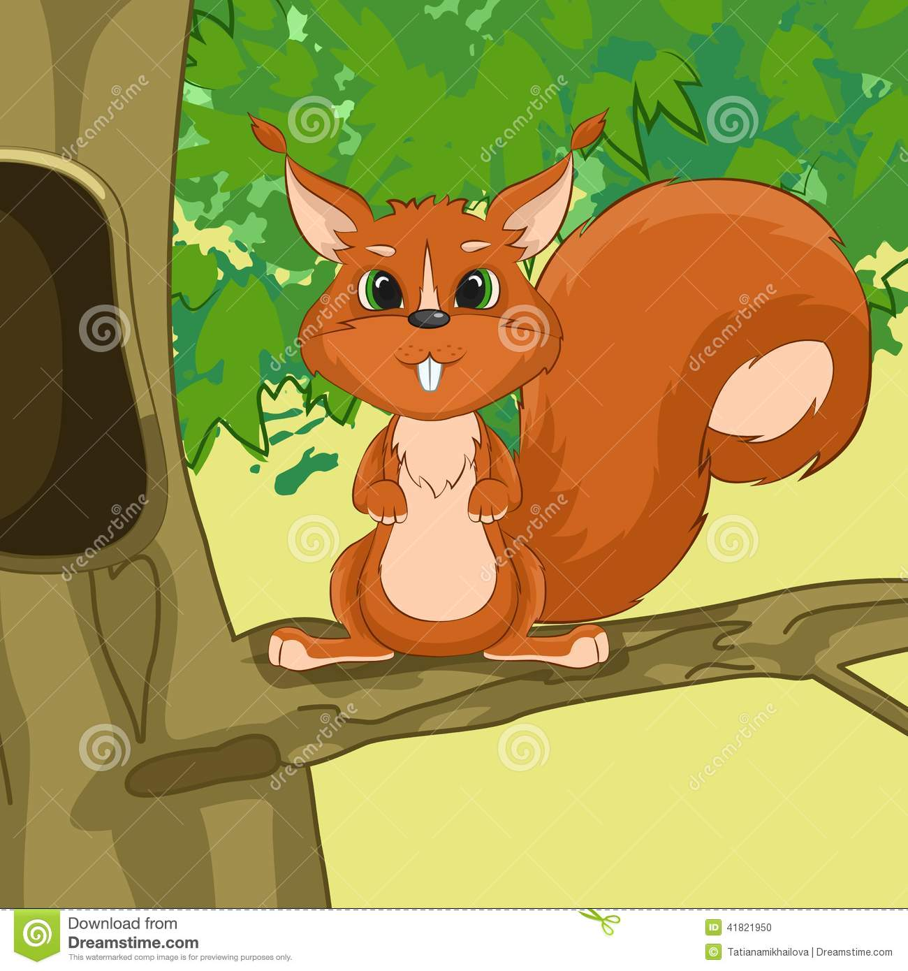 illustration of squirrel in the tree stock vector