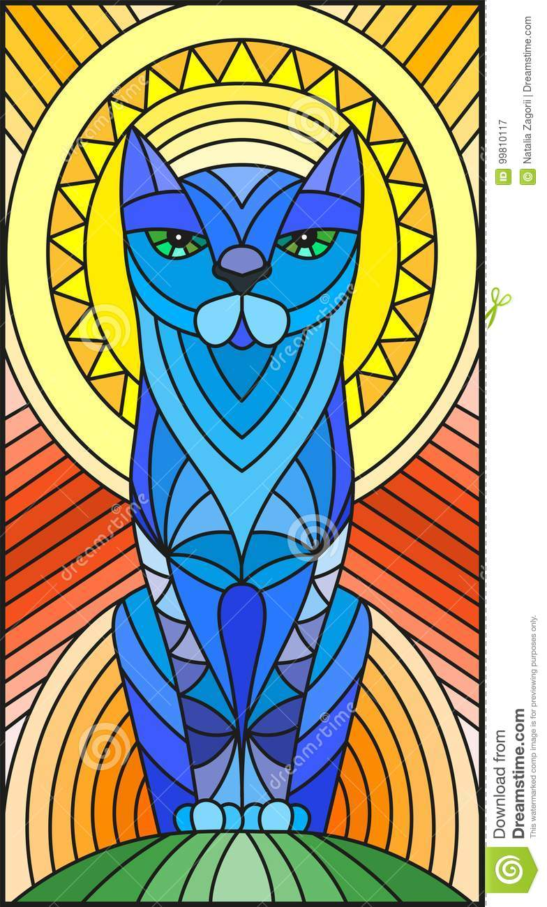 Stained Glass Illustration With Abstract Blue Geometric Cat Rainbow Decoration