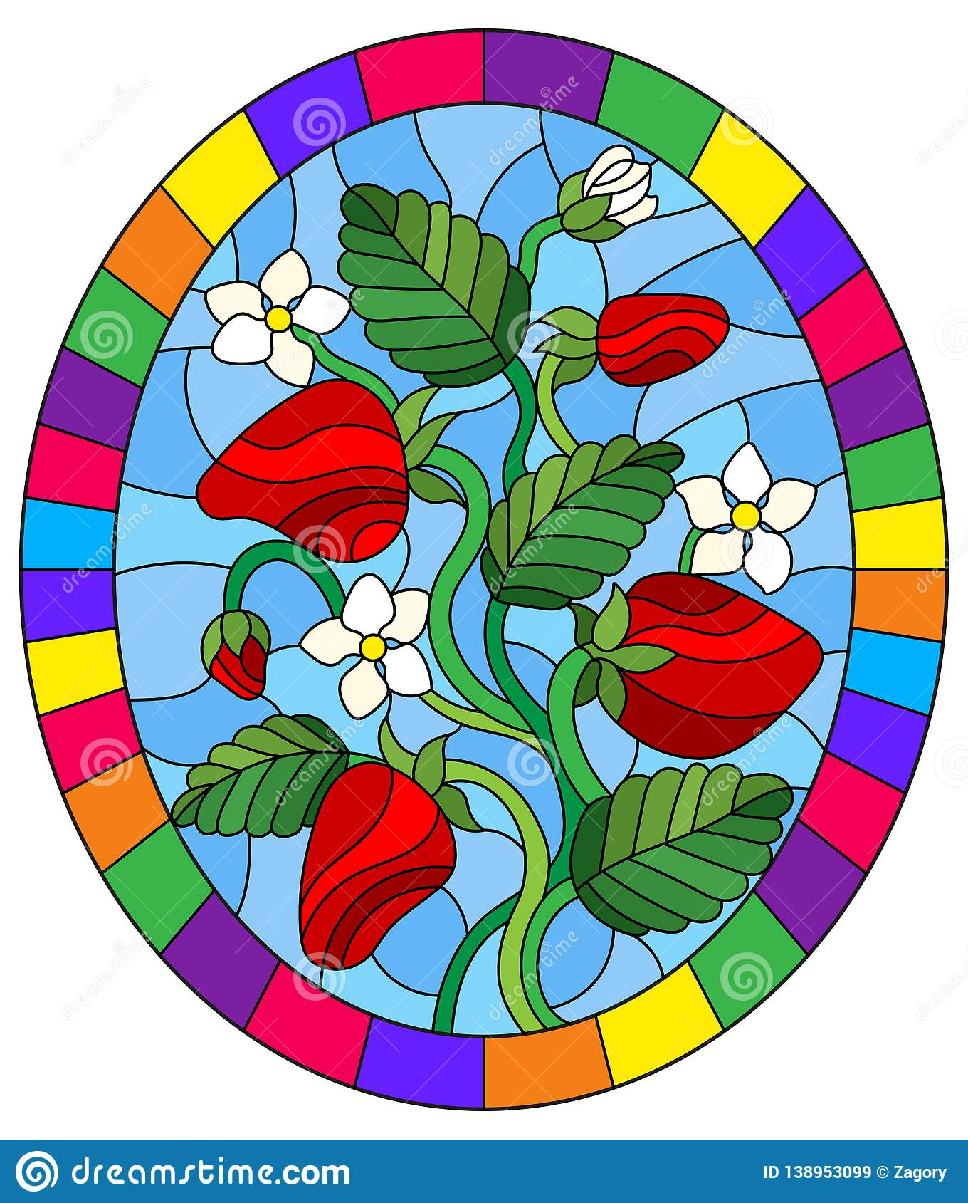 Illustration in Stained glass style with berries, leaves and strawberry flowers, oval picture in bright frame