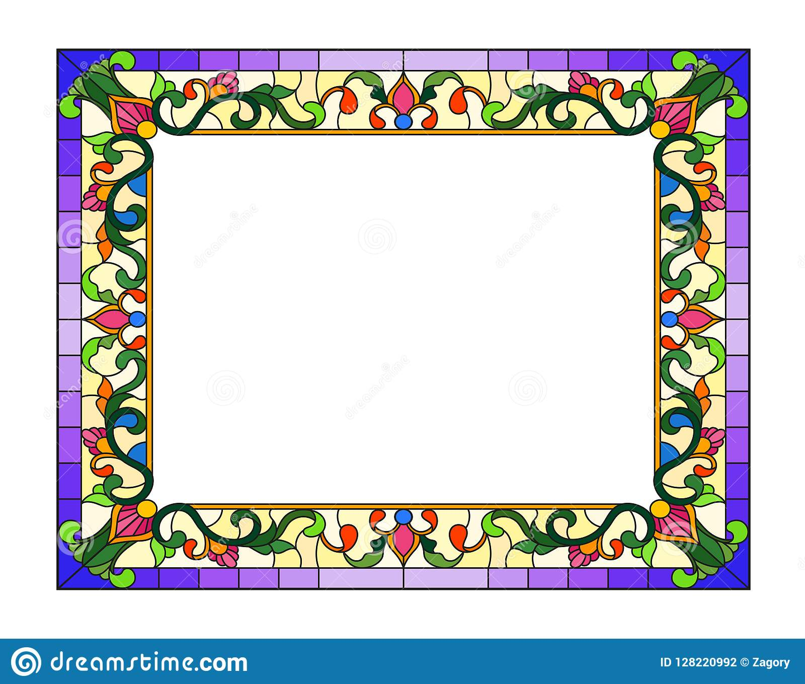 Stained Glass Illustration Flower Frame, Bright Flowers And Leaves ...