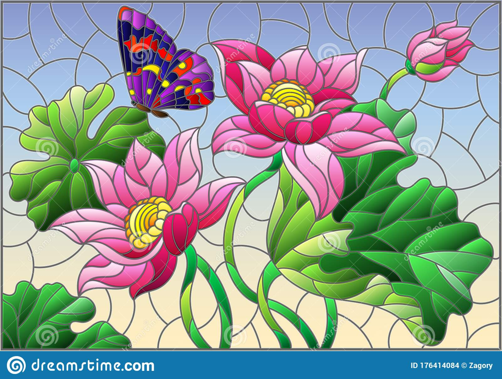 Flowers and leaves Pink Background with Butterflies