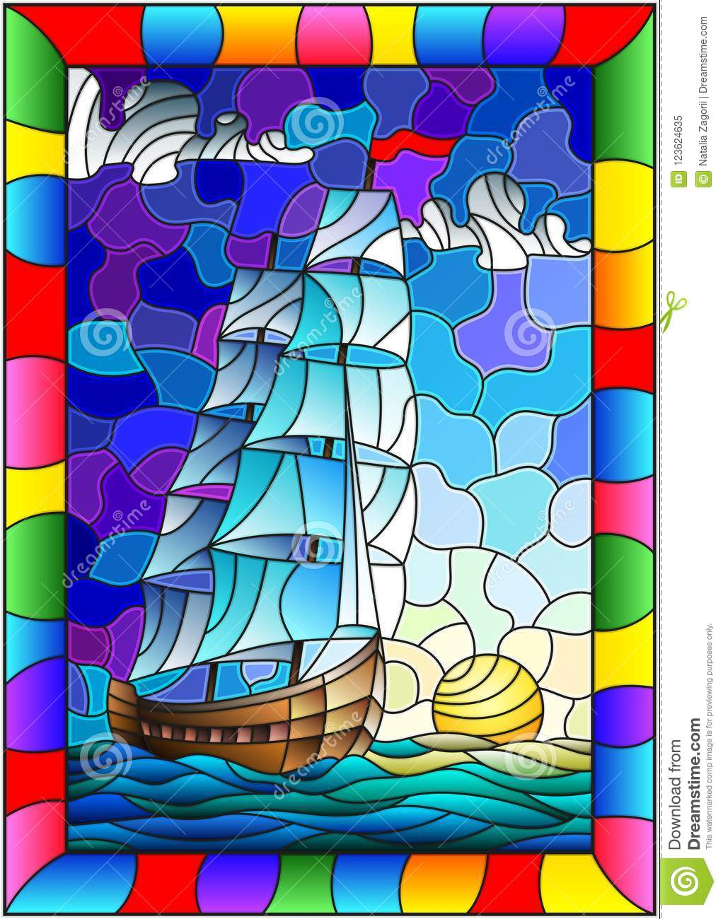 Stained Glass Illustration With An Old Ship Sailing With White Sails