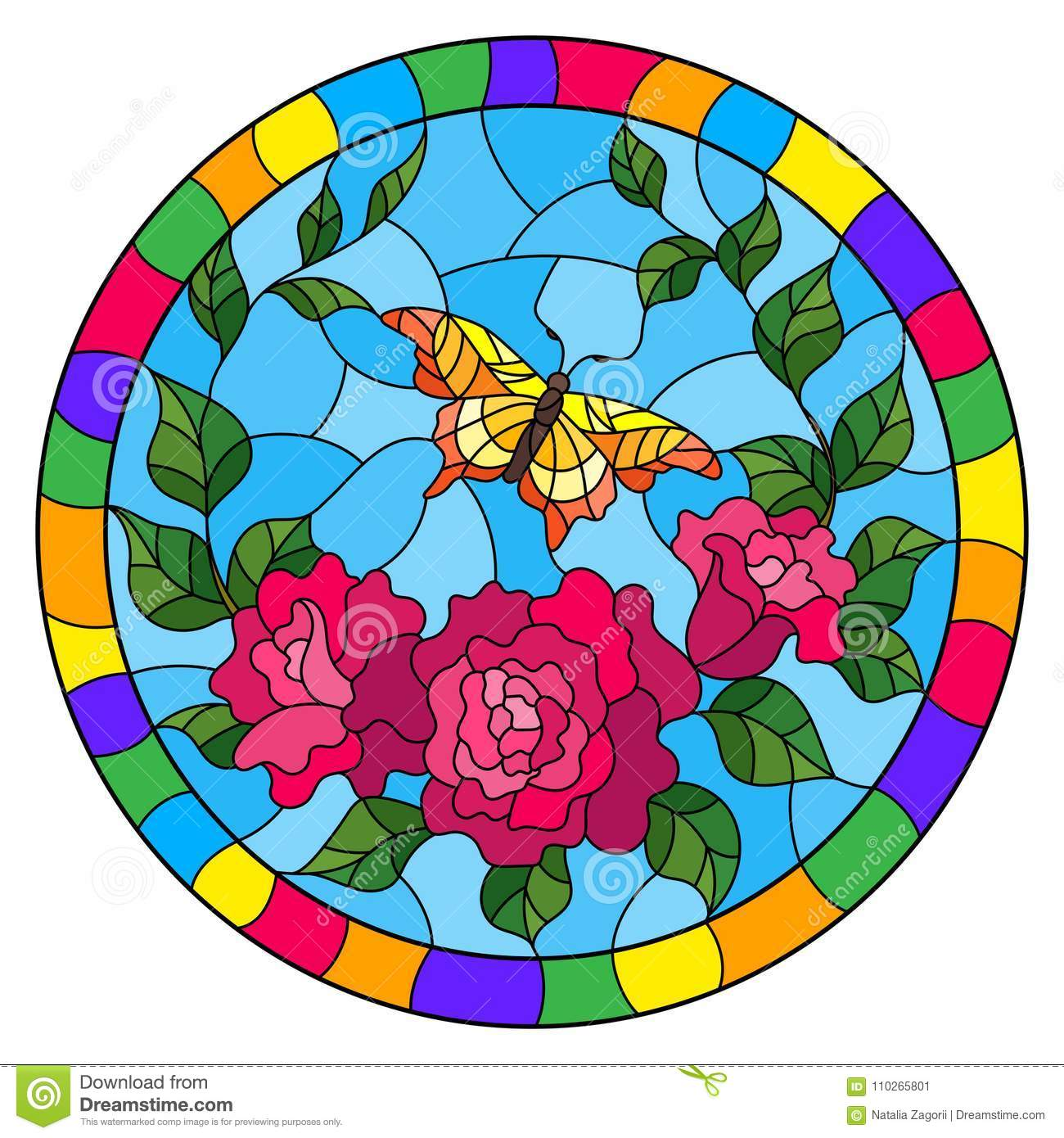 Stained glass illustration with red flowers and leaves of pink rose, and yellow butterfly round picture in a bright frame
