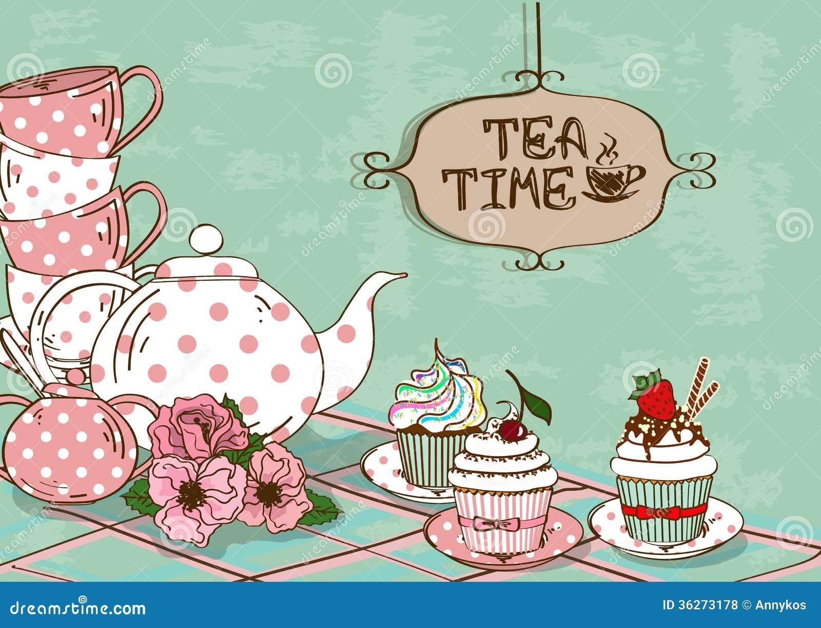 Animal Coffee Mugs Illustration With Still Life Of Tea Set And Cupcakes