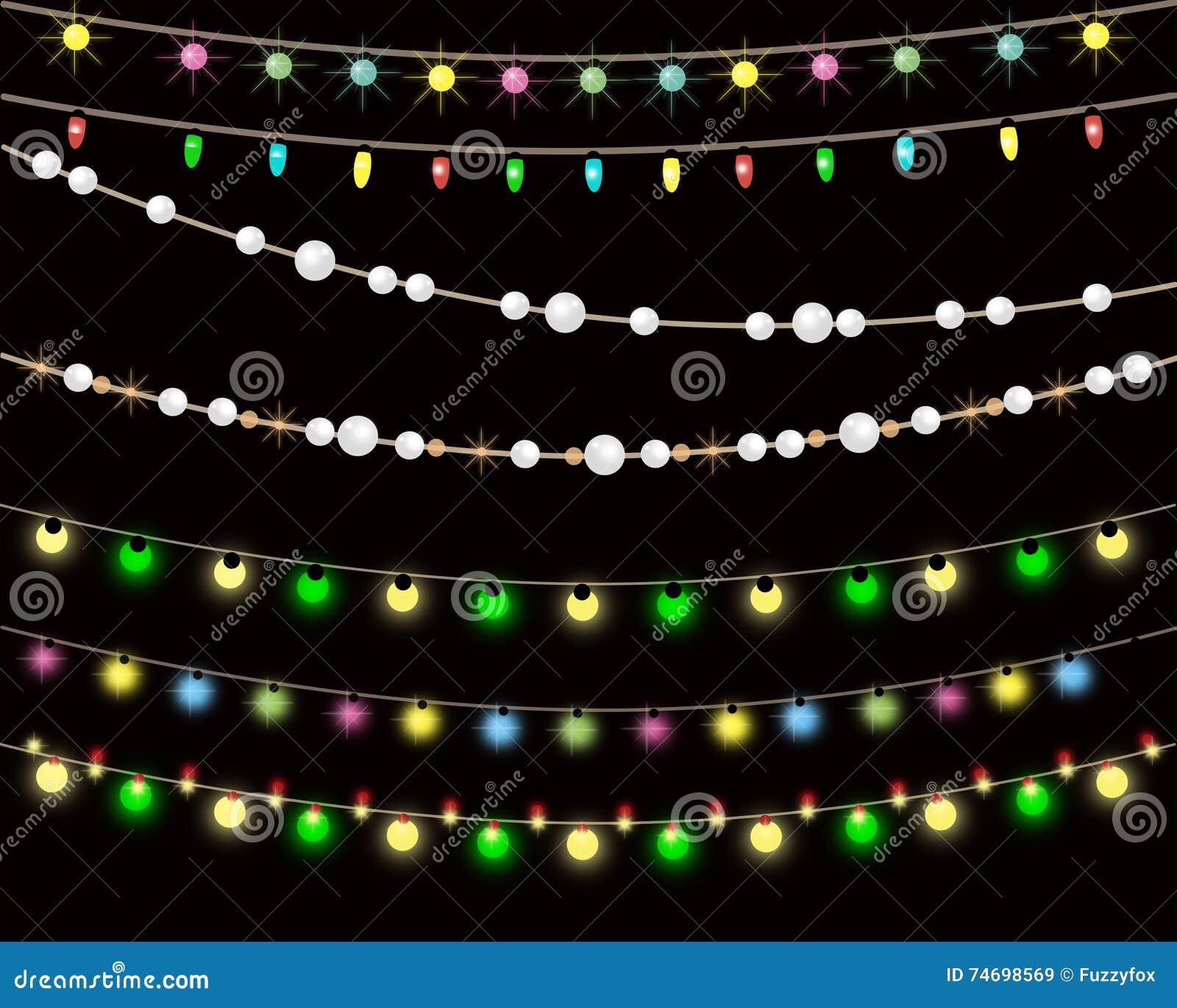 String Of Lights Illustration : Illustration Of Strings Of Christmas Lights, Dark Background Stock Illustration - Image: 74698569