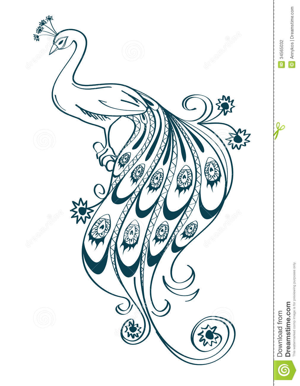 Illustration With Stylized Ornamental Peacock Stock Vector ...