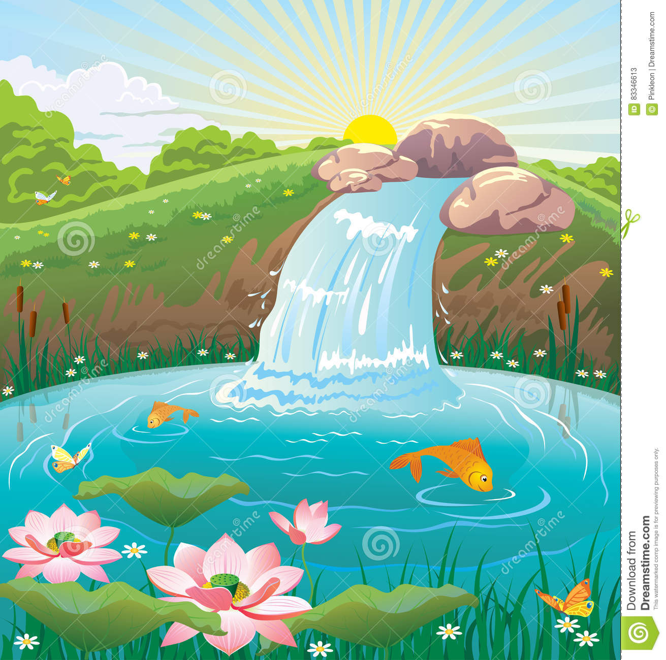 Illustration Of Summer Landscape With Lake And Waterfall ...